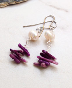 white freshwater pearl and coral earrings