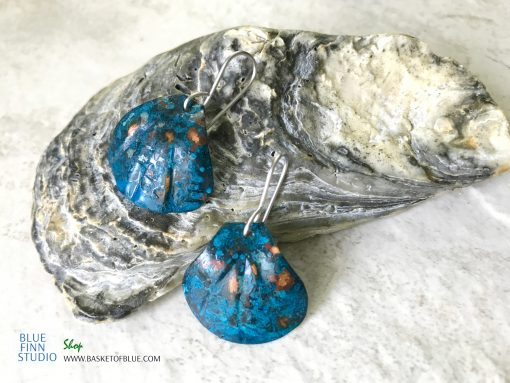 blue copper patina shell earrings