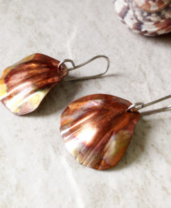 Copper Earrings Flamed Clam shell