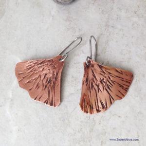 Gingko leaf copper earrings