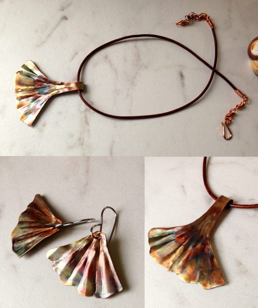 ginkgo leaf copper jewelry set