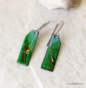 Green Painterly Enamel Earrings