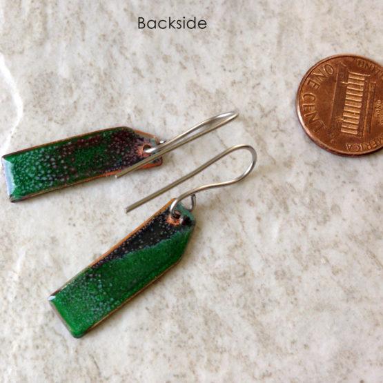 Green Painterly Enamel Earrings