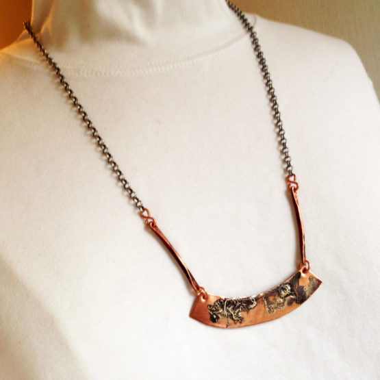 Copper Bar Necklace with Sterling Silver
