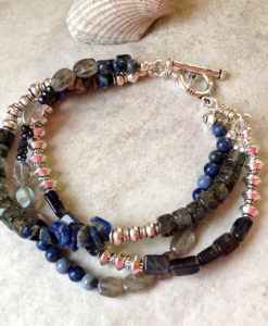 Blue Multi Gemstone Three Strand Bracelet