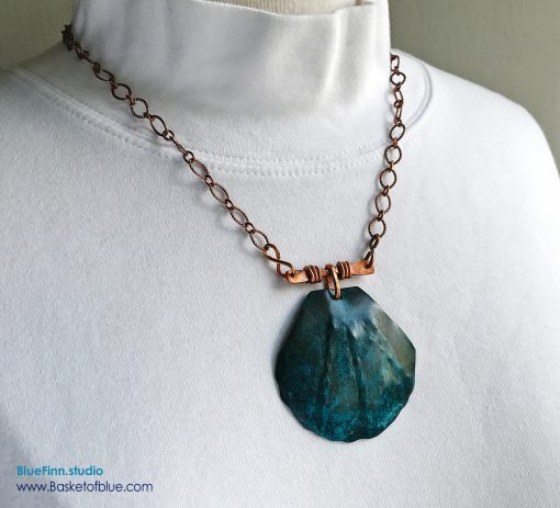 Blue Patina Copper Shell Necklace