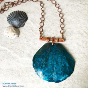 Blue Patina Shell Necklace