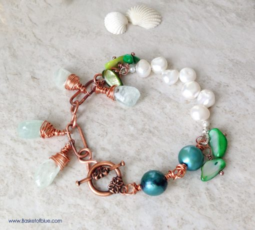 Multi Pearl, Aquamarine Copper Bracelet