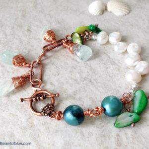 Multi Pearl, Aquamarine Copper Bracelet