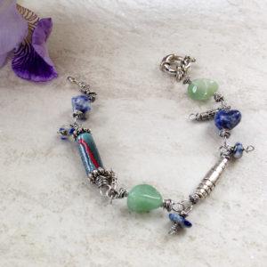 Sodalite Pewter Blue Green Bracelet