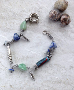 Sodalite Pewter Blue Green Bracelet