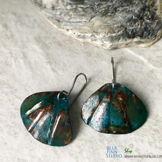 Blue Patina Copper Shell Earrings