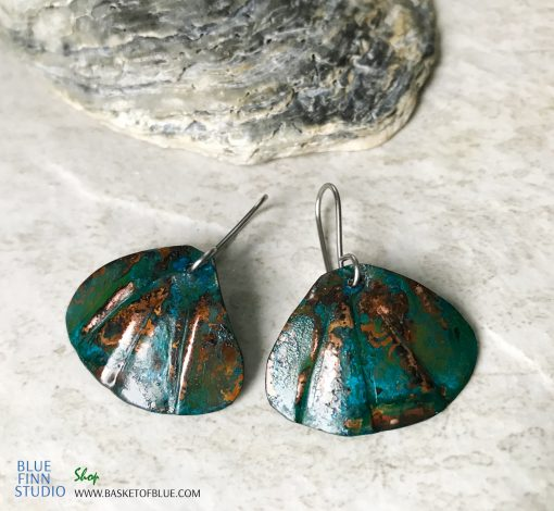 Blue Patina Copper Shell Earrings
