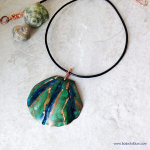 Blue Green Copper Shell Pendant,