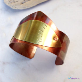 Brass Fish and Copper Cuff Bracelet