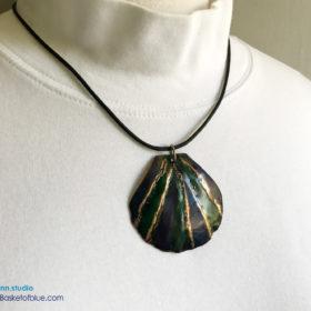 Blue green copper shell pendant