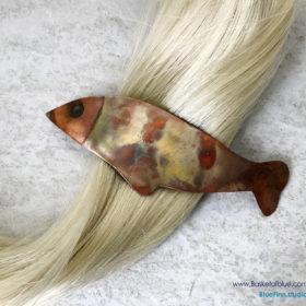 Fish Hair Barrette Flamed Copper