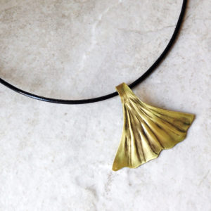 Brass Ginkgo Leaf Necklace