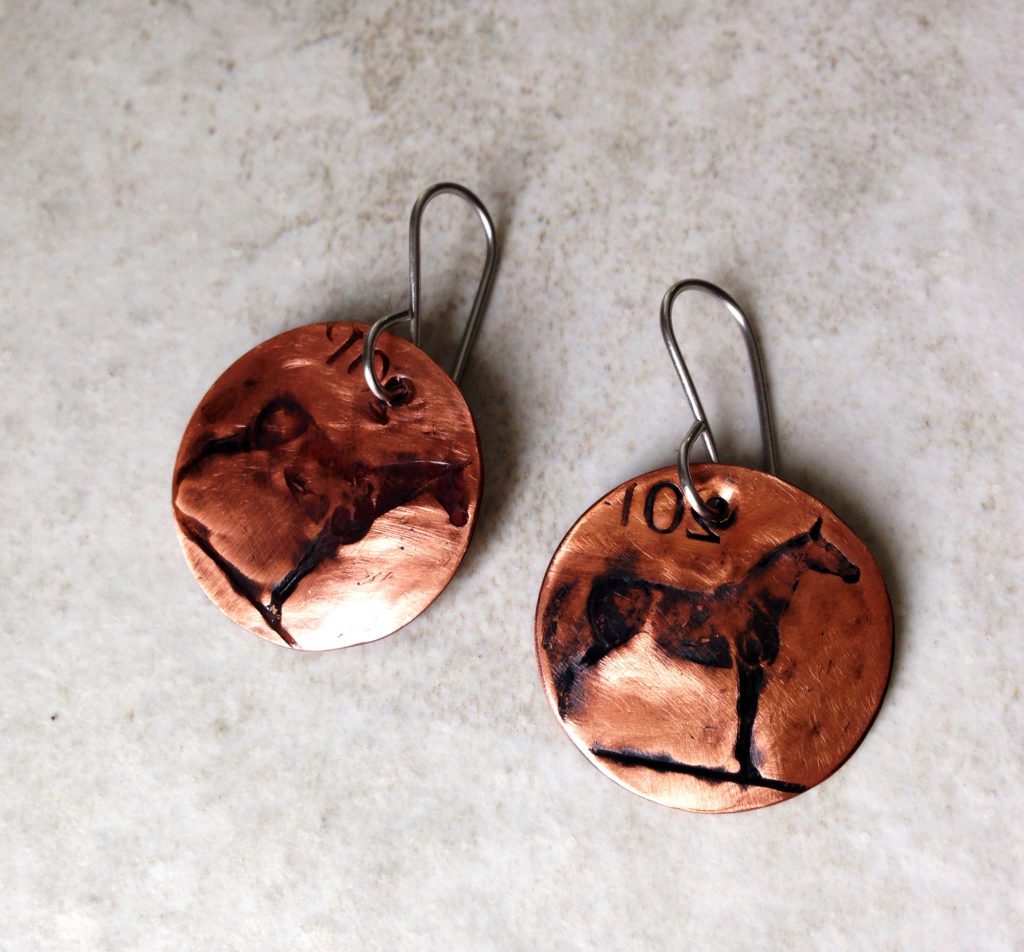 Horse Earrings Coin Disc Copper Earring