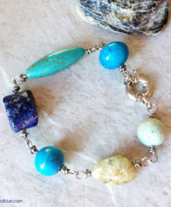 Blue Green Rustic Stone Bracelet