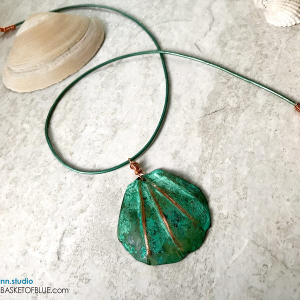 verdigris pendant copper clam shell necklace