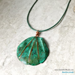 verdigris pendant copper clam shell necklace