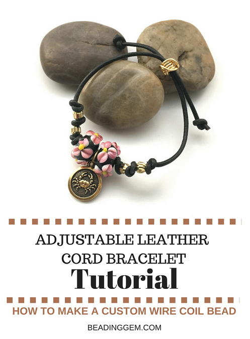 Leather cord charm bracelet tutorial