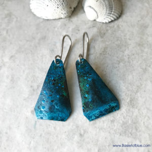 Blue Patina Earrings Seafoam Blue Green