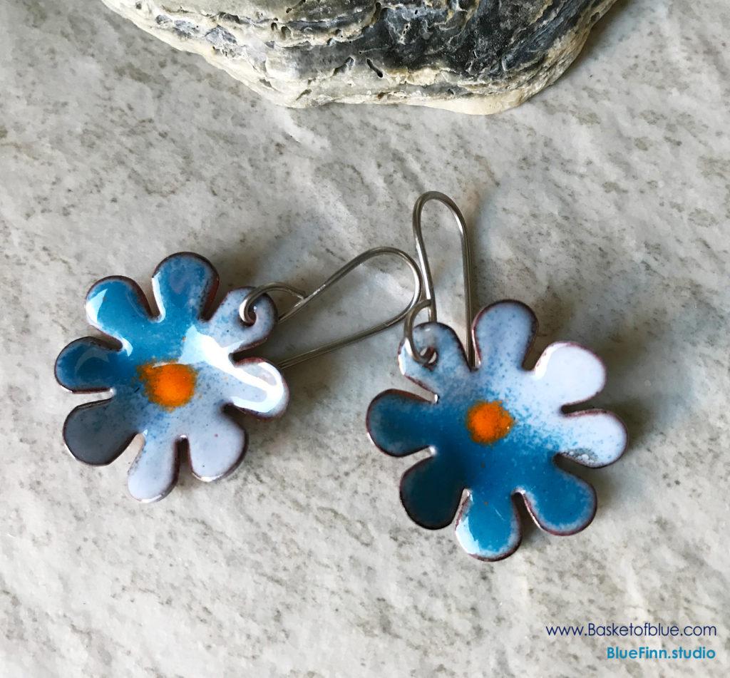 Blue Enamel Flower Earrings