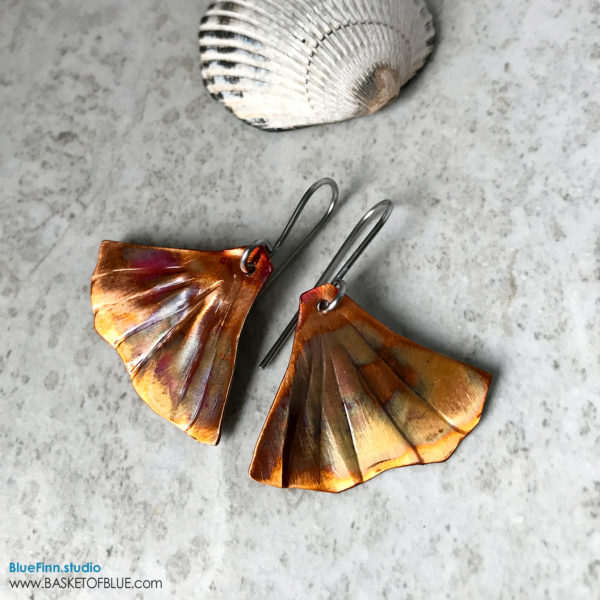 Ginkgo Leaf earrings Mermaid Tail Flamed copper