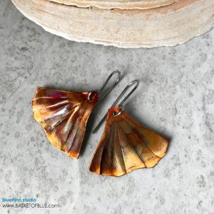 Ginkgo Leaf earrings Flamed copper