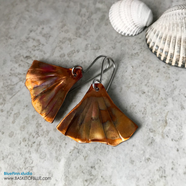 Ginkgo Leaf earrings Flamed copper