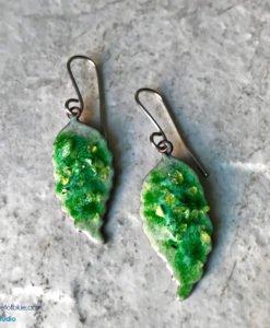 Green leaf Earrings with Crumble Top
