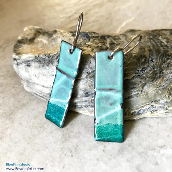 Green Enamel Wavy Earrings
