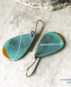 Green Oval Teardrop Stripe earrings