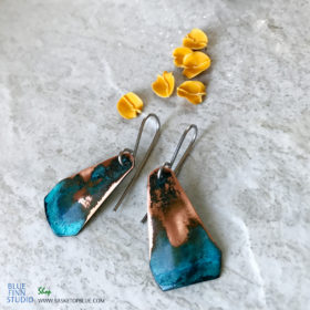 Copper Blue Patina Triangle Earrings