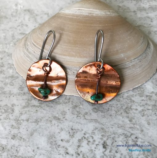Copper Fold Formed Disc with Turquoise