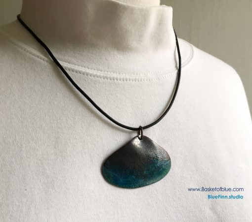 Rustic enameled copper shell necklace