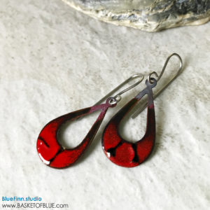 Red Enamel Teardrop Earrings