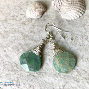 Ruby in Fuchsite Green Stone Teardop Earrings