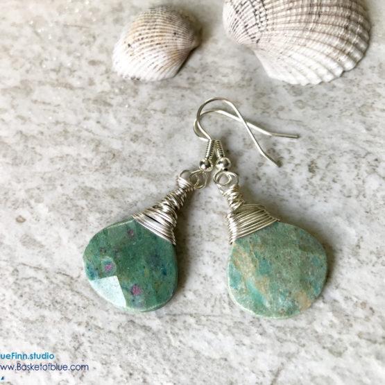 Ruby in Fuchsite Green Stone Teardop Earrings