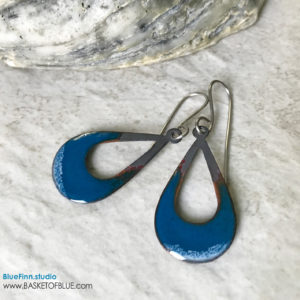 Blue Enamel Open Teardrop Earrings