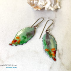 Colorful enamel leaf earring