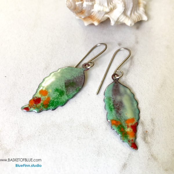 Colorful enamel leaf earring