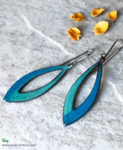Aqua Blue Long Open Hoop Enamel Earrings