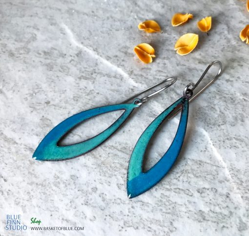Aqua Blue Long Open Hoop Enamel Earrings