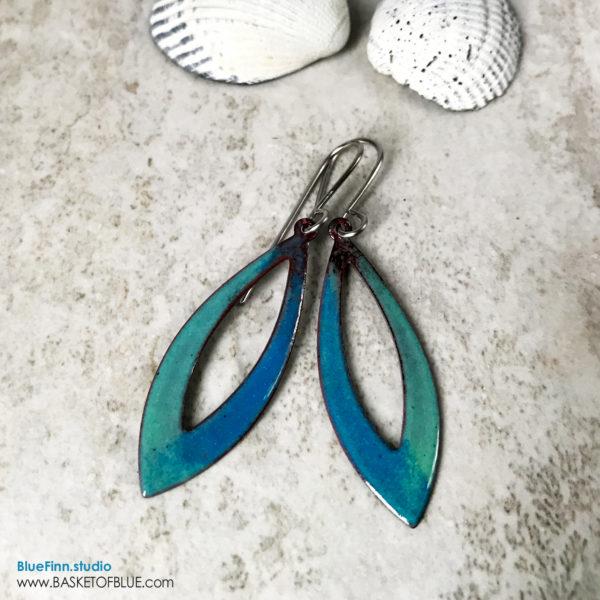 Aqua blue green open hoop enamel earrings