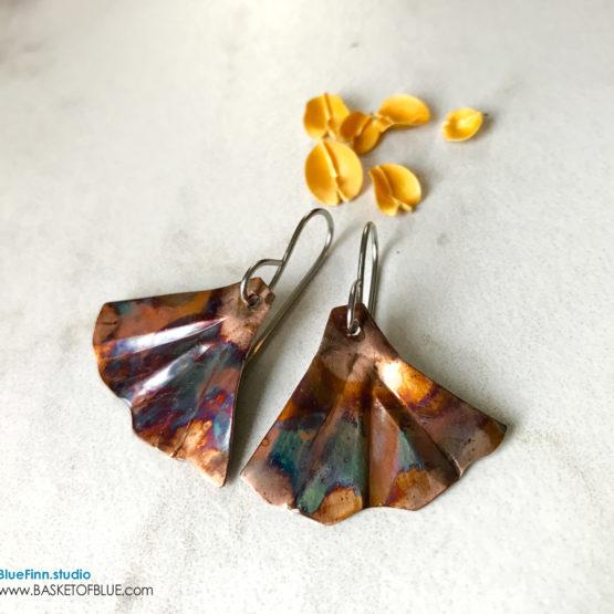 Ginkgo Leaf Flamed Copper Earrings