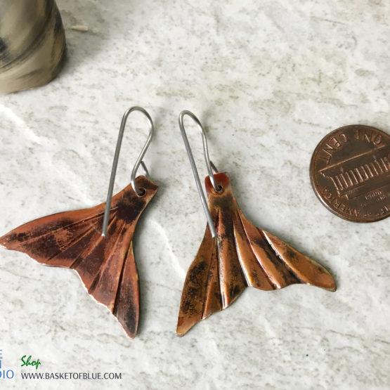 Mermaid Tail Earrings Flame Painted Copper