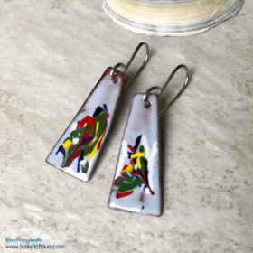 painterly enamel earrings